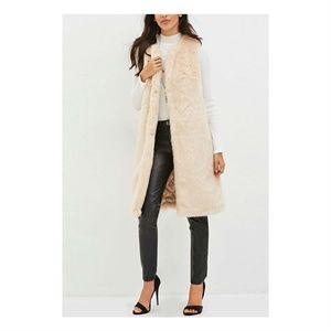 NWT Long faux fur duster vest